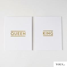 ciekawe pomysły na prezent ślubny, plakaty / obrazy z napisem queen i king