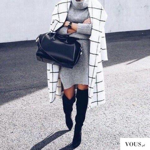 Przepiękna stylizacja w biało czarno szarym tonie