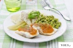 Redukcyjny posiłek z groszkiem i rybą
