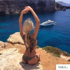 wypoczynek,blondynka,tatuaż,morze