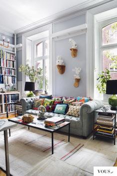 piękny salon z biblioteczką