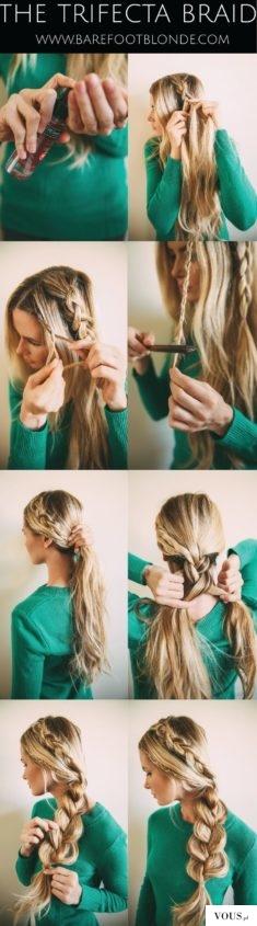 efektowny warkocz z długich włosów