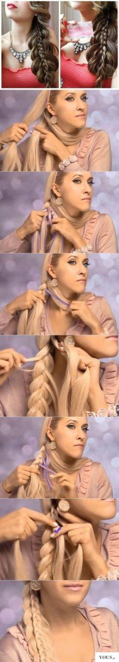 piękny warkocz z blond włosów