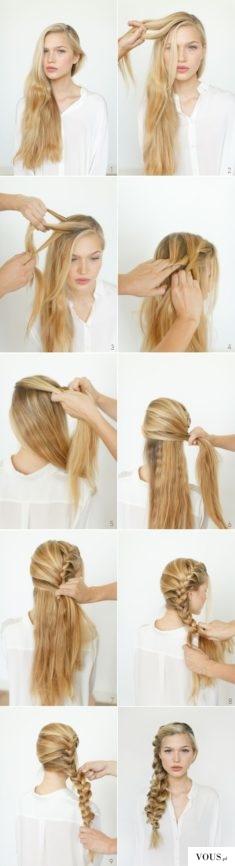 piękny warkocz z długich włosów