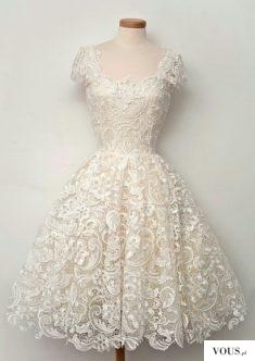 piękna koronowa sukienka ecru  na ślub