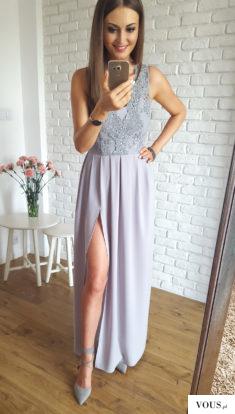 Piękna długa suknia z ozdobną koronką. Idealna na eleganckie wyjścia i uroczystości.  http://ill ...