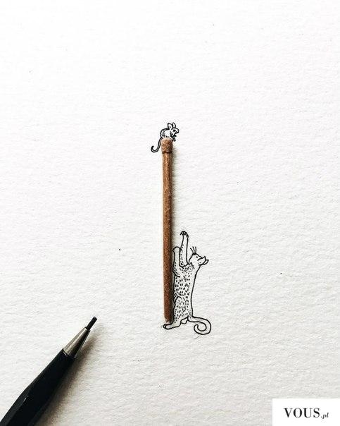 narysowany kotek