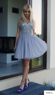 Szara tiulowa sukienka Honey