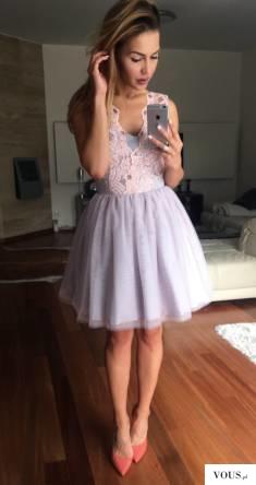 Tiulowa pudrowo- szara sukienka Honey. Idealna na wesele