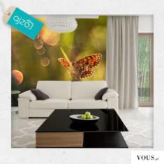 Fototapeta z motylkiem idealnie nada się na ścianę do salonu.