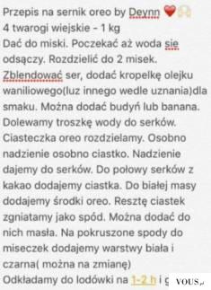 Przepis na sernik dietetyvzny fit oreo by Deynn: twaróg, olejek waniliowy, budyń, banan, oreo, k ...