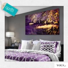 Obraz z motywem jeziora, w pięknej fioletowej kompozycji kolorystycznej. Idealny do sypialni i s ...