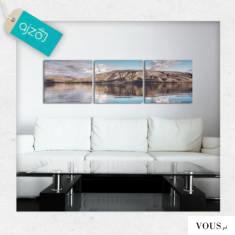 Trzyczęściowy obraz z pięknym motywem jeziora i gór. Turkus nieba idealnie współgra z brązowymi  ...