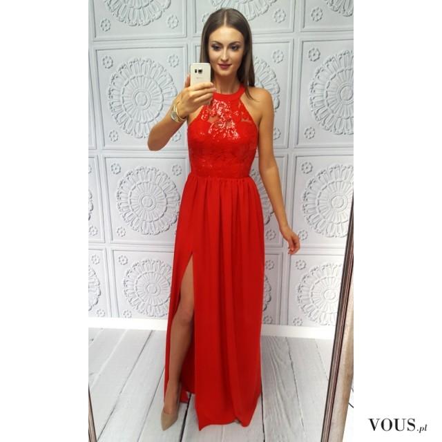 6a4363eb80 Długa czerwona suknia na bal