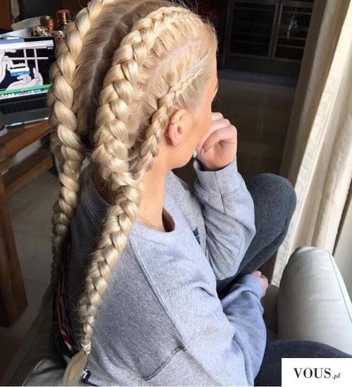 blond włosy, warkoczyki