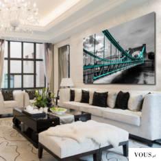 Obraz z motywem turkusowego Mostu Grunwaldzkiego. Dekoracje proponujemy do wystroju wnętrza w sa ...