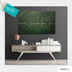 Las o intensywnie zielonej kolorystyce z motywem jeziora jako motyw plakatu. Natura na dekoracja ...