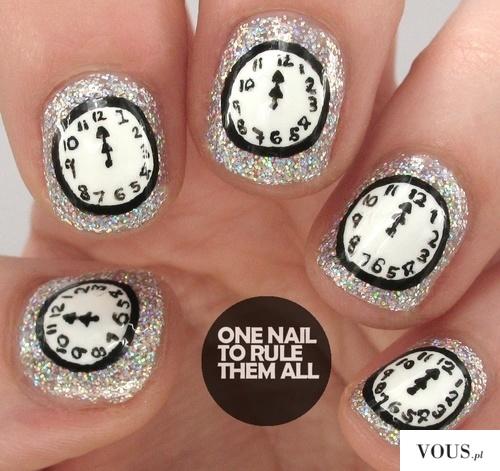 paznokcie sylwestrowe wzór zegar