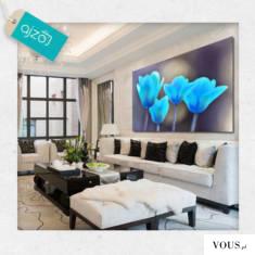 Piękny obraz z motywem błękitnych tulipanów. Intensywny kolor ożywi Twoje wnętrze.