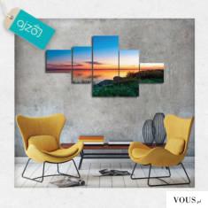Barwny obraz typu kaskada z motywem zachodzącego słońca. Idealny dla nowoczesnych wnętrz.
