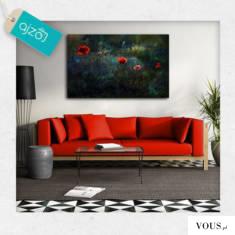 Fotografia przedstawiająca pola maków. Plakat o ciekawej kolorystyce polecamy do salonu, sypialn ...