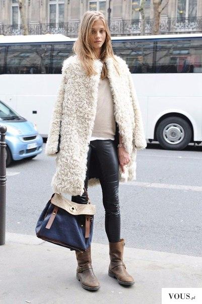 stylizacja białe futro na zimę