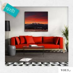 Na obrazie wschód słońca nad Tatrami. Motyw nieba w ciepłych kolorach doda Twojemu wnętrzu przyt ...