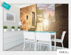 Fototapeta, której motyw stanowi piękną Włoska uliczka, otuloną promieniami słonecznymi.