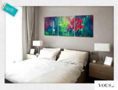 Dekoracja o pięknej kolorystyce z motywem kwiatów. Obraz doda Twojemu wnętrzu ciekawego charakte ...