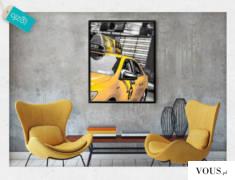 Nowojorska taksówka na czarno-białym tle, nowoczesna dekoracja sprawdza się świetnie w biurach,  ...