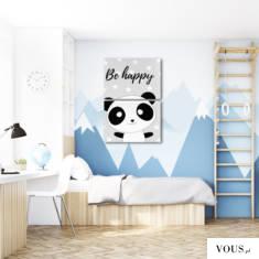 Urokliwa dekoracja z motywem pandy i napisem be happy. Ozdoba wpasuje się w każdy wystrój dzieci ...