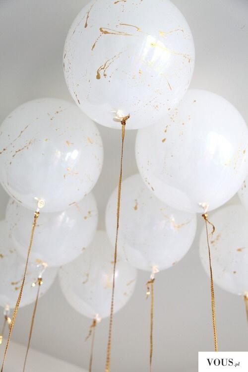 biało złote balony na pzyjęcie
