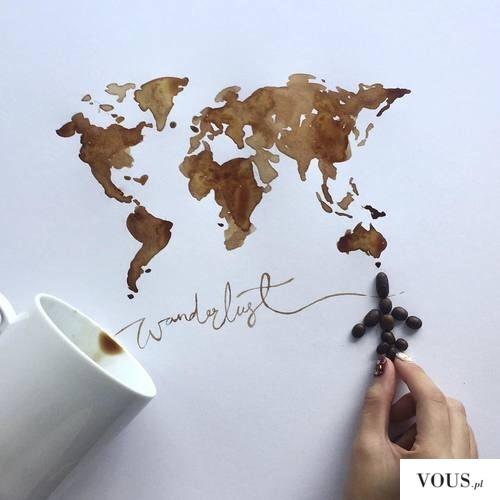 mapa namalowana kawą