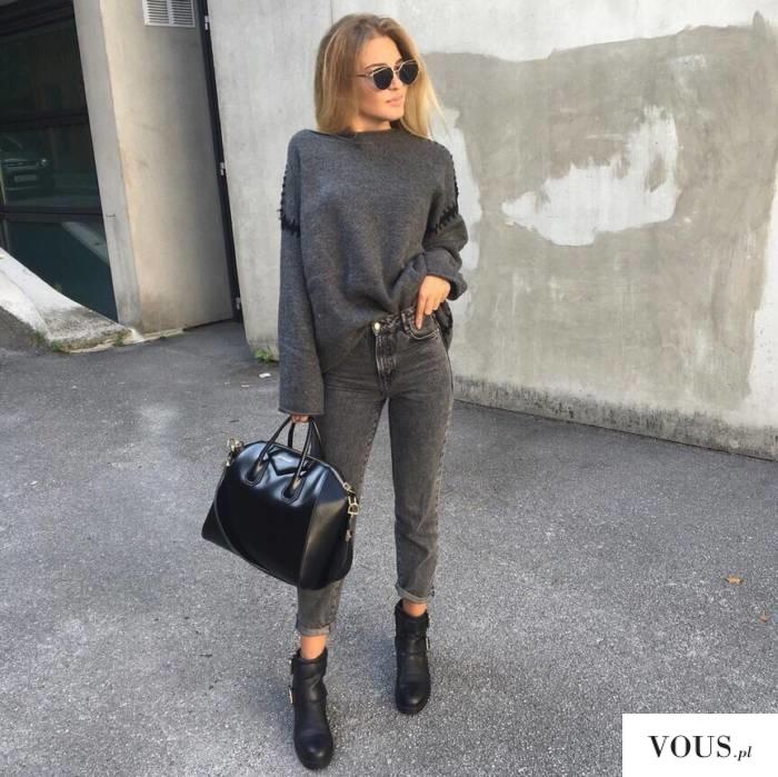 szara stylizacja, grey total look