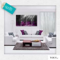 Oryginalny obraz z motywem fioletowych elementów. Polecamy do nowoczesnych salonów oraz biur.