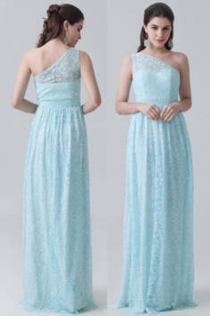 Robe bleue dentelle colonne asymétrique pour mariage