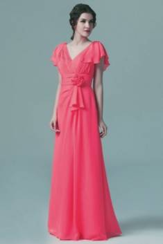 Robe longue corail vintage col V appliquée de fleurs à mancherons