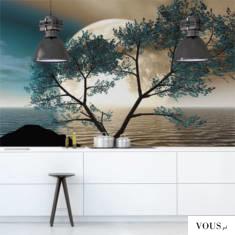 Niesamowita fototapeta z motywem wschodzącego księżyca i turkusowego drzewa.