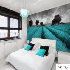 Lawendowe pola w kolorze turkusowym, świetna dekoracja do upiększenia sypialni.