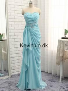 Kevinluo – Blå Havfrue Kæreste Perler Chiffon Gallakjoler