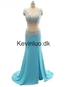 Kevinluo – Blå Havfrue Lang V-hals Chiffon Gallakjoler