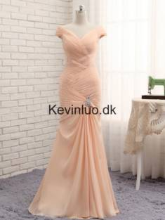 Kevinluo – Champagne Havfrue Lange Chiffon Gallakjoler