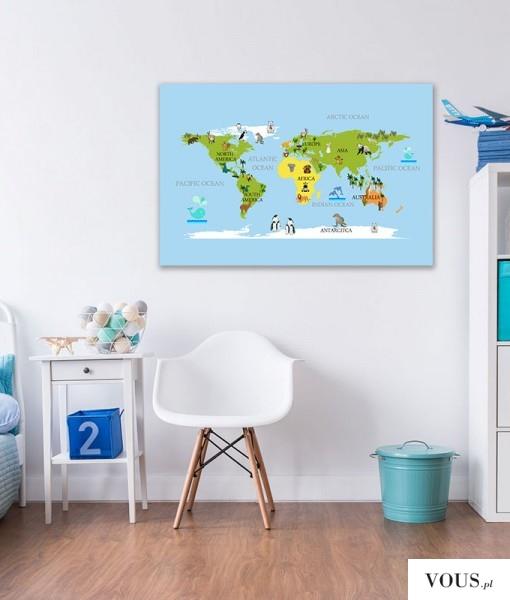 Kolorowa mapa świata ze zwierzakami wyszczególnionymi na poszczególnych kontynentach.