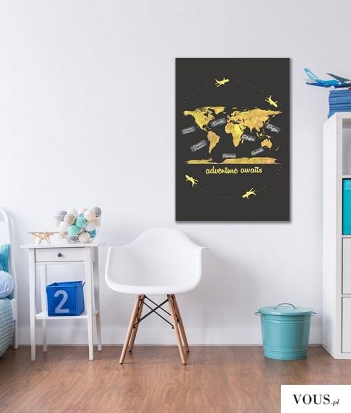 Mapa w modnej obecnie kolorystyce doskonała do pokoju nastolatka.