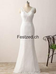 Weiß Bodenlang V-Ausschnitt Spitze Brautkleider – Festzed.CH