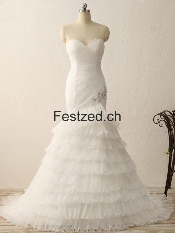 Weiß Herzausschnitt Meerjungfrau Organza Brautkleider – Festzed.CH