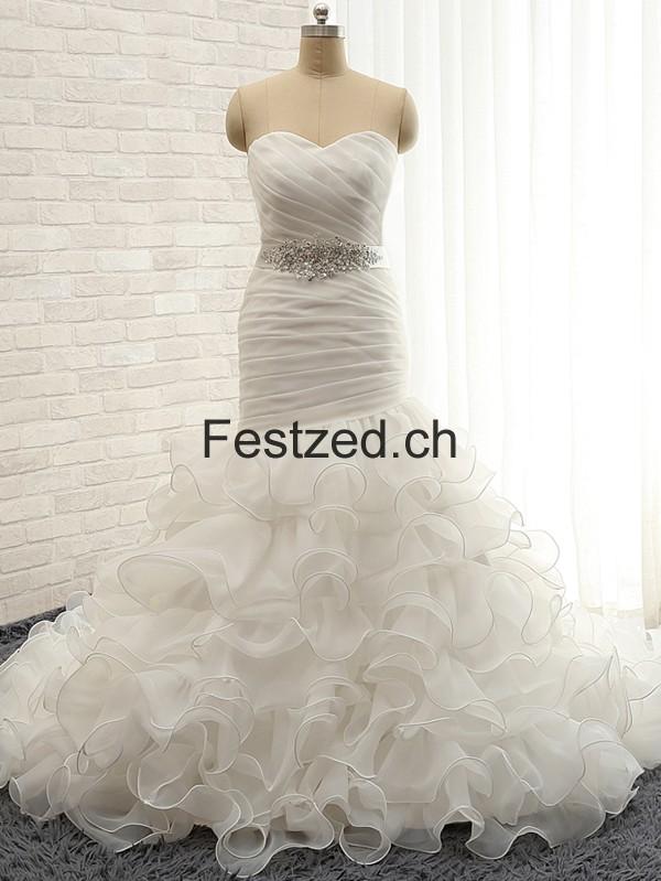Weiß Herzausschnitt Meerjungfrau Perlen Organza Brautkleider – Festzed.CH