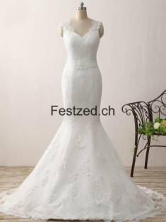Weiß Herzausschnitt Meerjungfrau Spitze Brautkleider – Festzed.CH