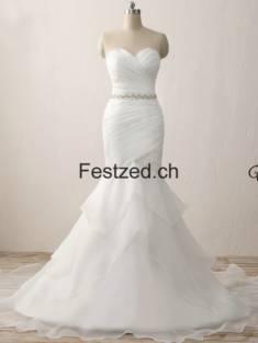 Weiß Herzausschnitt Perlen Organza Brautkleider – Festzed.CH