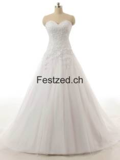 Weiß Kugel-Kleid Herzausschnitt Tüll Brautkleider – Festzed.CH